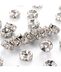 Bead Spaces, Rondelle, Stainless Steel with Rhinestone, 7x3mm, Hole:1mm, 6/pack
