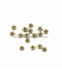 Spacer, Flower, Bronze colour, 5mm, Hole: 1mm, pack/ 30 pcs