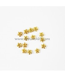 Spacer, Flower, Gold colour, 5mm, Hole: 1mm, pack/ 30 pcs