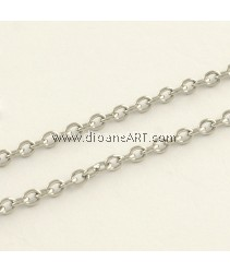 Cross Chains, Stainless Steel, Unwelded, Stainless Steel Color, 3x2x0.5mm, 1 meter