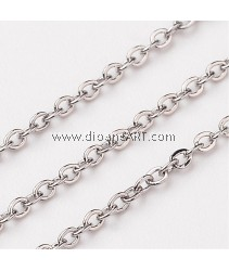 Rolo Chains, Stainless Steel, Stainless Steel Color, 1.5x1.5mm, 1 meter