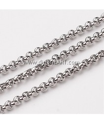 Rolo Chains, Stainless Steel, Stainless Steel Color, 2x2mm, 1 meter