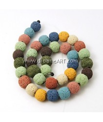 Natural Lava Bead, Round, Dyed, Mixed Color, 12mm, Hole: 2mm; about 35pcs/strand