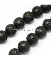 Natural Lava Bead, Round, 6.5mm, Hole: 0.5mm; about 63pcs/strand