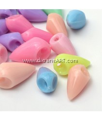 Pendants, Cone, Acylic, Mixed Opaque Color, 16x9mm, Hole: 2mm, 50 pcs/pack