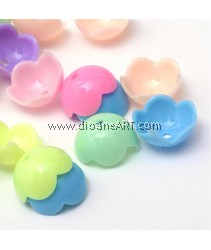 Bead Caps, 5- Petal Flower, Acrylic, Mixed Opaque Color, 14x7mm, Hole: 2mm, 50 pcs/pack
