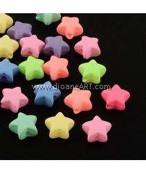 Beads, Star, Acrylic Mixed Color, 11x12x6mm, Hole: 2mm, 50 pcs/pack
