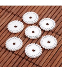 Spacers, Disc, Imitation Pearl Acrylic, White, 13x2mm, Hole: 2mm, 30 pcs/pack