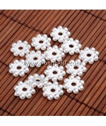 Spacers, Flower, Imitation Pearl Acrylic, White, 13x3mm, Hole: 2.5mm, 50 pcs/pack