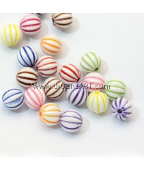 Bead, Acylic, Round, Mixed Color, 8.5~9mm, Hole: 1.5mm, 30 pcs/pack