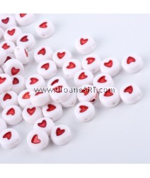 Bead, Acylic, Opaque, Flat Round with Heart, OrangeRed, 7x7x3.5mm, Hole: 1mm, 50 pcs/pack