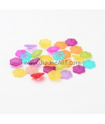 Bead Caps, Mixed Frosted Flower, Acylic, 11x4mm, hole: 2mm, 100 pcs/pack