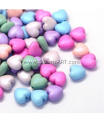 Bead, Heart,  Opaque Acrylic, Heart, Mixed Color, 10~10.5x11x5.5mm, Hole: 2mm, 50 pcs/pack