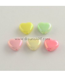 Bead, AB Color Plated Heart, Acrylic, Mixed Color, 11x12x5mm, Hole: 2mm, 50 pcs/pack
