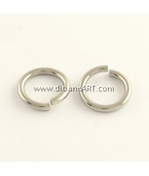 Jumprings, 304 Stainless Steel Close but Unsoldered, Stainless Steel Color, 10x1.4mm, Hole: 7mm, 50 pcs/pack
