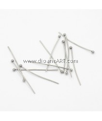 Ball Headpins, 304 Stainless Steel , Stainless Steel Color, 30mm, Pin: 0.7mm; about 50 pcs/pack