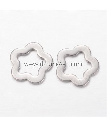 Link, 304 Stainless Steel, Flower, Stainless Steel Color, 11.5x1mm, Hole: 7mm, 10 pcs/park