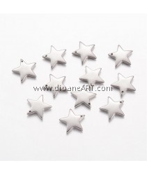 Charm, Star, 304 Stainless Steel, Steel Color, 13x13x2.5mm, Hole: 0.8mm, 6 pcs/pack