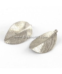 Pendant, Leaf, 304 Stainless Steel, Stainless Steel Color, 28x17.5x1mm, Hole: 3mm, 2 pcs/pack