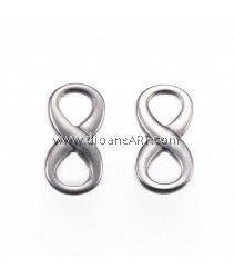 Links, Infinity, 304 Stainless Steel, Stainless Steel Color, 15x7.5x2mm, Hole: 4x4.5mm, 2 pcs/pack