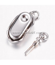 Clasps, Box, 304 Stainless Steel, Platinum colour, 20x8x7mm, Hole: 2.5mm; Pin: 1.2mm, 1 pcs/pack