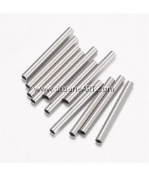Tube Bead, 304 Stainless Steel, Stainless Steel Color, 15x1.5mm, Hole: 1mm, 20 pcs/pack