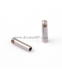 Cord Ends, 304 Stainless Steel, Stainless Steel Color, 7x1.8mm, Hole: 1mm; Inner Diameter: 1mm, 6 pcs/pack