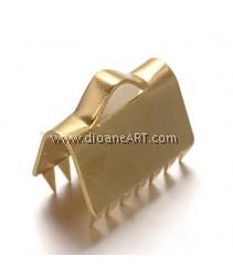 Ribbon Ends, 304 Stainless Steel, Golden, 10.5x9.5x6mm, Hole: 1.5x3mm, 6 pcs/pack