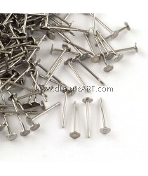 EarStud, Flat Round, 316 Stainless Steel, Stainless Steel Color, Tray: 3mm; 12x3mm, Pin: 0.8mm, 30 pcs/pack