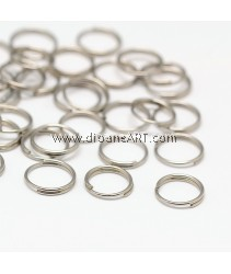 Jump Rings, Double Loops, Stainless Steel, 8x0.6mm; 200 pcs/pack