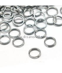Jump Rings, Split Ring, 304 Stainless Steel Steel Color, 6x1.2mm; 12g/pack (ard 200 pcs)