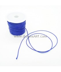 Waxed Polyester Cord, Blue Color, 1mm, about 10m/roll, 1roll/pack