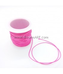 Waxed Polyester Cord, Deep Pink Color, 1mm, about 10m/roll, 1roll/pack