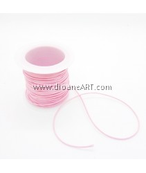 Waxed Polyester Cord, Light Pink Color, 1mm, about 10m/roll, 1roll/pack