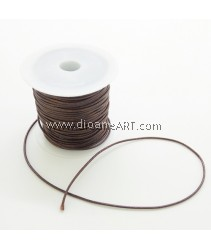 Waxed Polyester Cord, Brown Color, 1mm, about 10m/roll, 1roll/pack