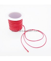 Waxed Polyester Cord, Red Color, 1mm, about 10m/roll, 1roll/pack