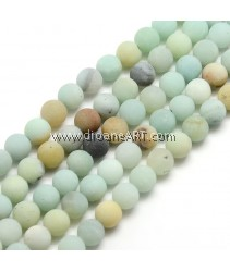 Frosted Amazonite Round Bead Strands, 8mm, Hole: 1mm; about 47~49pcs/strand, 14.9~15.6