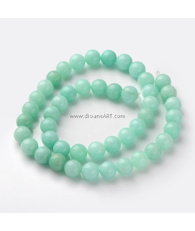 Amazonite Beads, Round about 8mm in diameter, hole: about 1mm, 15~16