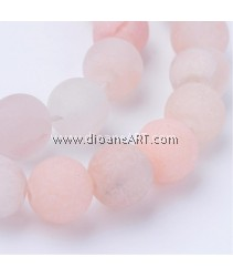Pink Aventurine Beads Strands, Frosted, Round, 6~6.5mm, Hole: 1mm; about 63pcs/strand, 15.5