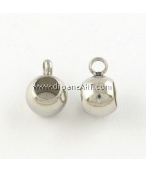 Rondelle Charm Carrier, 201 Stainless Steel, Stainless Steel Color, 9x6.5x5mm, Hole: 2~4mm, 5/pack