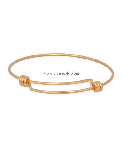 Bangle, 316 Stainless Steel, Expandable, Golden, 60mm; 1.5mm,,1/pack