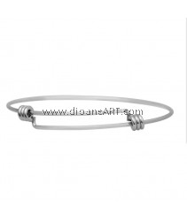Bangle, 316 Stainless Steel, Expandable, Stainless Steel Color, 2-3/8