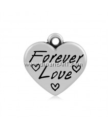 Heart with Word Forever Love Pendant, 316 Stainless Steel, Antique Silver colour, 16x16.5x4mm, Hole: 2mm, 1/pack