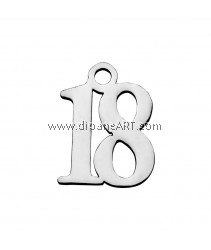 Number 18 Charm, 304 Stainless Steel, Stainless Steel Color, 12x9.5x1.1mm, 2/pack