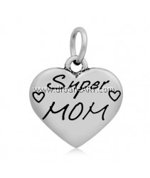 Heart with Word Super Mom Pendant, 316 Stainless Steel, Stainless Steel Color, 21x17mm, 1/pack