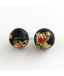 Flower Picture Frosted Glass Round Beads, with Gold Metal Enlaced, Black, 14x13mm, Hole: 1.5mm, 2/pack