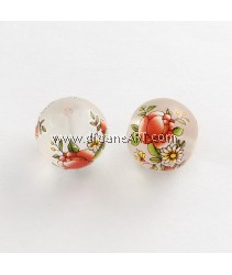 Flower Picture Frosted Transparent Glass Round Beads, Clear, 14x13mm, Hole: 1.5mm, 2/pack