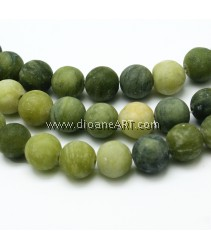 Round Frosted Natural TaiWan Jade Bead Strands, 8mm, Hole: 1mm; about 48pcs/strand, 15.5