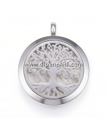 Diffuser Locket Pendants, 304 Stainless Steel  with Perfume Pad and Magnetic Clasps, Flat Round with Tree, 36.5~37x30x6.5~7mm, Hole: 5mm, 1/pack